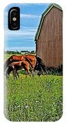 Horses By A Barn Along Confederation Trail-pei IPhone Case