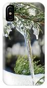 Icicles On Juniper Branch IPhone Case