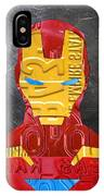 Iron Man Superhero Vintage Recycled License Plate Art Portrait IPhone Case