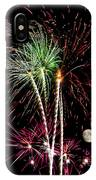Its Raining Red Drops On The Red Flowers - Fireworks And Moon IPhone Case