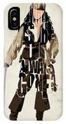Jack Sparrow Inspired Pirates Of The Caribbean Typographic Poster IPhone Case