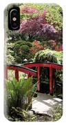 Japanese Garden Bridge With Rhododendrons IPhone Case