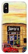 Java U Cafe Jean Talon Car Wash Coffee Shop Depanneur Montreal Art Sale Cspandau                     IPhone Case