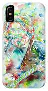 Jerry Garcia Playing The Guitar Watercolor Portrait.2 IPhone X Case