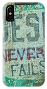 Jesus Never Fails IPhone Case