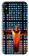Jesus Sculpture And Blue Glass Background IPhone Case