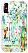 Jim Morrison And The Doors Live On Stage- Watercolor Portrait IPhone Case