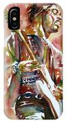 Jimi Hendrix Playing The Guitar Portrait.3 IPhone Case