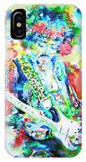 Jimi Hendrix Playing The Guitar.2 -watercolor Portrait IPhone Case