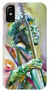 Jimi Hendrix Playing The Guitar.5 -watercolor Portrait IPhone Case