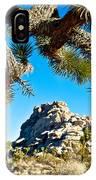 Joshua Tree And Jumbo Rocks By Quail Springs In Joshua Tree Np-ca IPhone Case