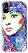 Juliette Greco - Colored Pens Portrait IPhone Case