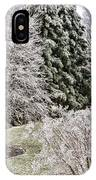 Ice Coating Trees And Lawn In A Back Yard IPhone Case