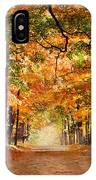 Kid With Backpack Walking In Fall Colors IPhone Case