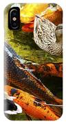 Koi Fish In Pond Swimming With Two Mallard Ducks IPhone Case