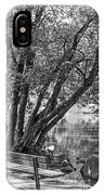 Lake Bench In Black And White IPhone Case