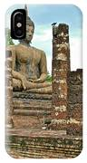 Large Sitting Buddha At Wat Mahathat In 13th Century Sukhothai H IPhone Case