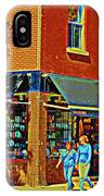 Le Fouvrac Foods Chocolates And Coffee Shop Corner Garnier And Laurier Montreal Street Scene IPhone Case