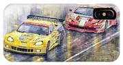 2011 Le Mans Gte Pro Chevrolette Corvette C6r Vs Ferrari 458 Italia IPhone X Case
