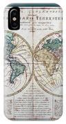 Leonhard Euler World Map 1760 Ad With Matching Grey Aqua Small Border IPhone Case