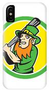 Leprechaun Baseball Hitter Batting Circle Retro IPhone Case by Aloysius Patrimonio