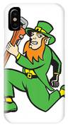 Leprechaun Plumber Wrench Running Retro IPhone Case by Aloysius Patrimonio