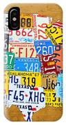 License Plate Map Of The United States On Burnt Orange Slab IPhone Case