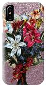 Lilies And Orchids Digitized Purple IPhone Case