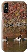 Line Of Geese On The Quinapoxet River IPhone Case