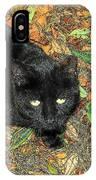 Little Black Cat In Fall IPhone Case