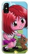 Little Cartoon Manga Girl Stroking Pet Cat IPhone Case