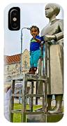 Little Girl Gets Close To Woman Sculpture In Donkin Reserve In Port Elizabeth-south Africa IPhone Case