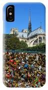 Locks Galore On The Pont De L'archeveche In Paris IPhone Case