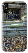 Log Cabin Window And Fall Leaves IPhone Case