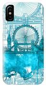 London Skyline Vintage Blue 2 IPhone Case