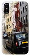 London Taxi On Shopping Street IPhone Case
