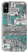 London Toile Blue IPhone Case