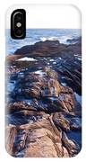 Lone Person On Rocks At Pemaquid Point IPhone Case