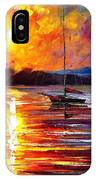 Lonely Yacht - Palette Knife Oil Painting On Canvas By Leonid Afremov IPhone Case
