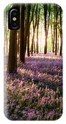 Long Shadows In Bluebell Woods IPhone Case