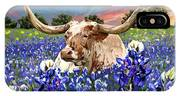 Longhorn In Bluebonnets IPhone X Case
