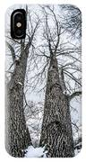 Looking At Tree Tops After A Winter Snow Storm IPhone Case