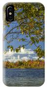Loon Lake In Autumn With White Birch Tree IPhone Case