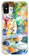 Lou Reed Playing The Guitar - Watercolor Portrait IPhone Case