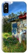 Love Graffiti Covered Building In Field IPhone Case