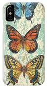 Lovely Butterfly Trio On Tin Tile IPhone Case