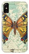 Lovely Yellow Butterfly On Tin Tile IPhone Case
