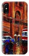 Lovers In The Rain Stroll St Catherine Street Near Morgans Department Store Vintage City Scene Art IPhone Case