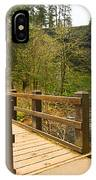Lower South Waterfall With Footbridge In Oregon Columbia River Gorge. IPhone Case
