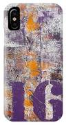 Lucky Number 16 Purple Orange Grey Abstract By Chakramoon IPhone Case